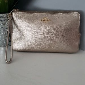 Double corner zip Coach wristlet
